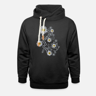 daisy flowers white daisies bloom floral ornaments - Unisex Shawl Collar Hoodie