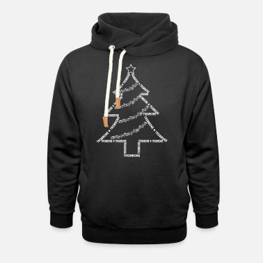 Brass White Trombone Text Christmas Tree - Unisex Shawl Collar Hoodie