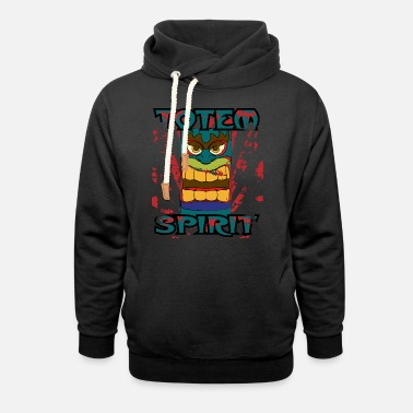 Totem Pole Totem Pole - Totem Spirit - Indian Religion - Unisex Shawl Collar Hoodie