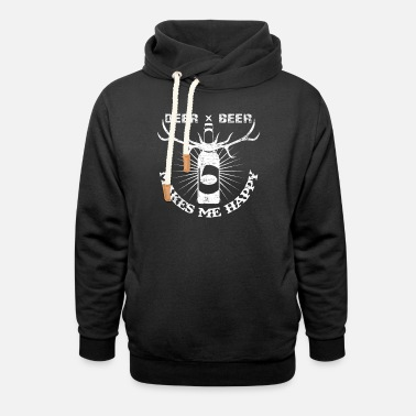 Statement Deer x Beer Makes Me Happy | Funny Sayings Hunting - Unisex Shawl Collar Hoodie