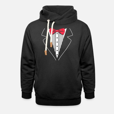 Funny Red Hearts Neck Tie Valentine's Day - Unisex Shawl Collar Hoodie