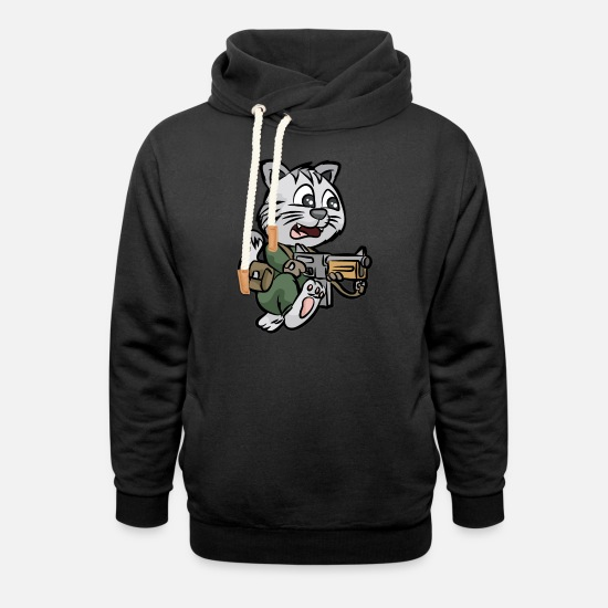 Reserve Hoodies & Sweatshirts - MILITARY CAT TOMMY GUN Soldier - Unisex Shawl Collar Hoodie black