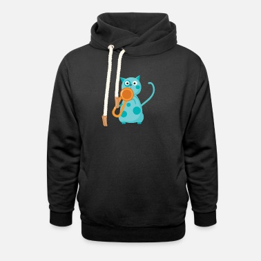 Trumpet Cat Music - Unisex Shawl Collar Hoodie