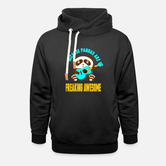 Giant Panda Hoodies & Sweatshirts - Panda Guitar Music Band Gift - Unisex Shawl Collar Hoodie black