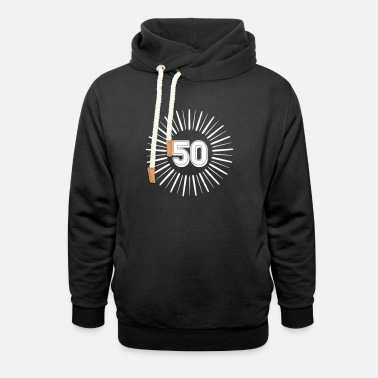 Round Birthday 50 Years Birthday Round Rays - Unisex Shawl Collar Hoodie