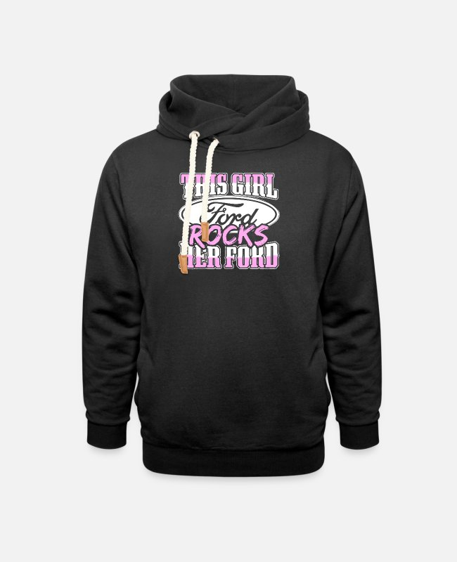 Mustang Hoodies & Sweatshirts - Ford - this girl ford rocks her ford - Unisex Shawl Collar Hoodie black
