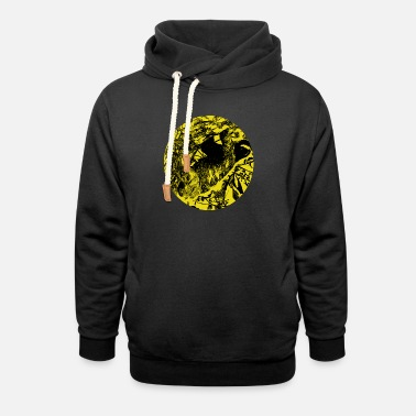 Yellow sloth hanging yellow black gift idea - Unisex Shawl Collar Hoodie