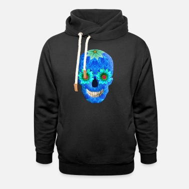 Funky Blue Day Of The Dead Skull - Unisex Shawl Collar Hoodie