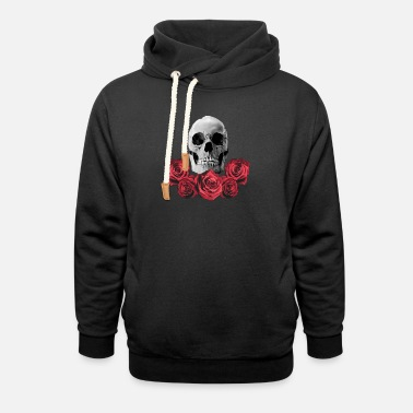 Gothic Skull with Red Roses - Unisex Shawl Collar Hoodie