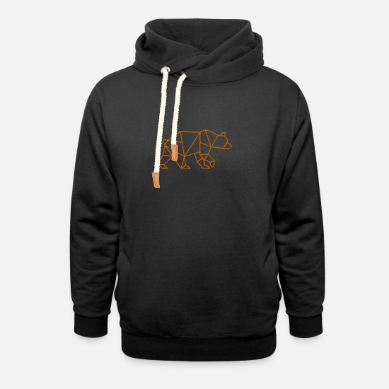 Gift Idea Hoodies & Sweatshirts - Geometry Bear - Unisex Shawl Collar Hoodie black