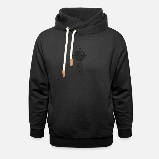 Gift Idea Hoodies & Sweatshirts - Compass with plumes gift Shirt - Unisex Shawl Collar Hoodie black