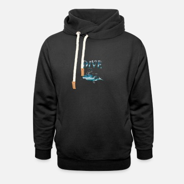 Water Match diving under water for Ocean Water sport lovers - Unisex Shawl Collar Hoodie