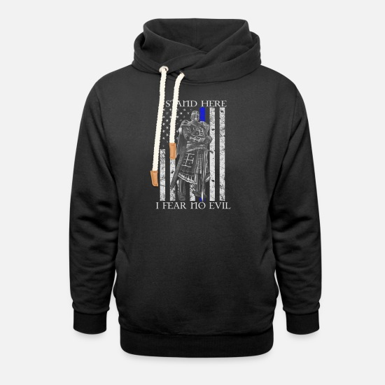 Templar Knights Hoodies & Sweatshirts - Crusader - I stand here fearing no evil flag tee - Unisex Shawl Collar Hoodie black