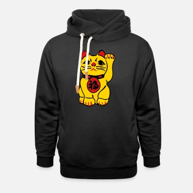 Fun good fortune cat - Unisex Shawl Collar Hoodie