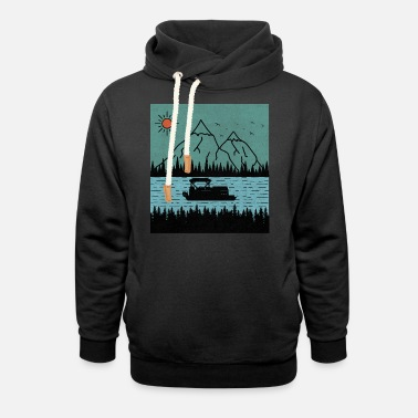 Boating Lake Boating Kayaking Rafting Canoeing at Mountain - Unisex Shawl Collar Hoodie