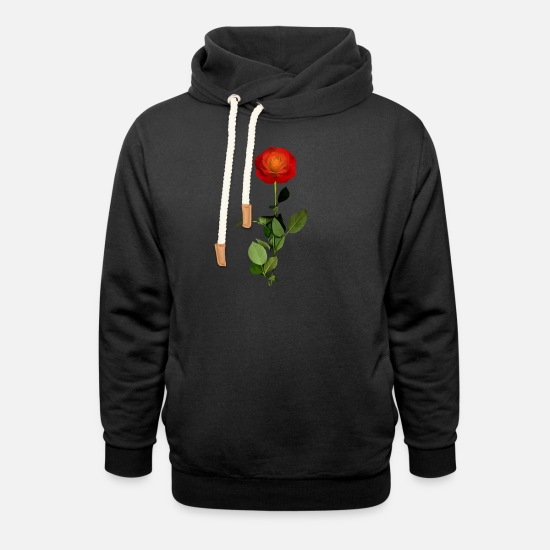 Rose  Hoodies & Sweatshirts - red rose - Unisex Shawl Collar Hoodie black