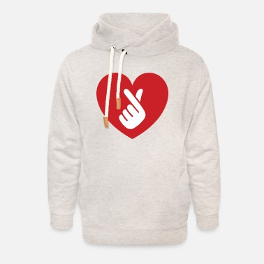 Finger Heart I Love You Hand Sign Gesture - Unisex Shawl Collar Hoodie