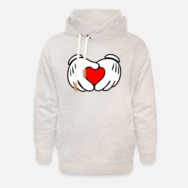 Hands Mickey heart hands - Unisex Shawl Collar Hoodie