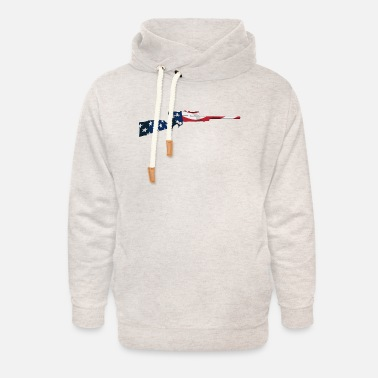 Bolt-action Rifles Patriotic Hunting Rifle with USA Flag Overlay - Unisex Shawl Collar Hoodie