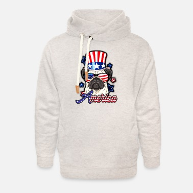 4th of july pug - Unisex Shawl Collar Hoodie