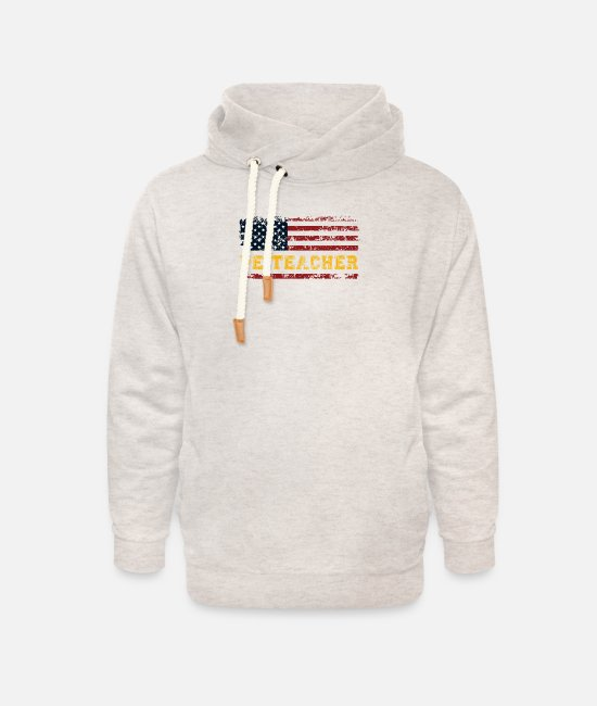 Physical Hoodies & Sweatshirts - P.E. USA Flag Patriot Coach. PE Physical Education - Unisex Shawl Collar Hoodie heather oatmeal