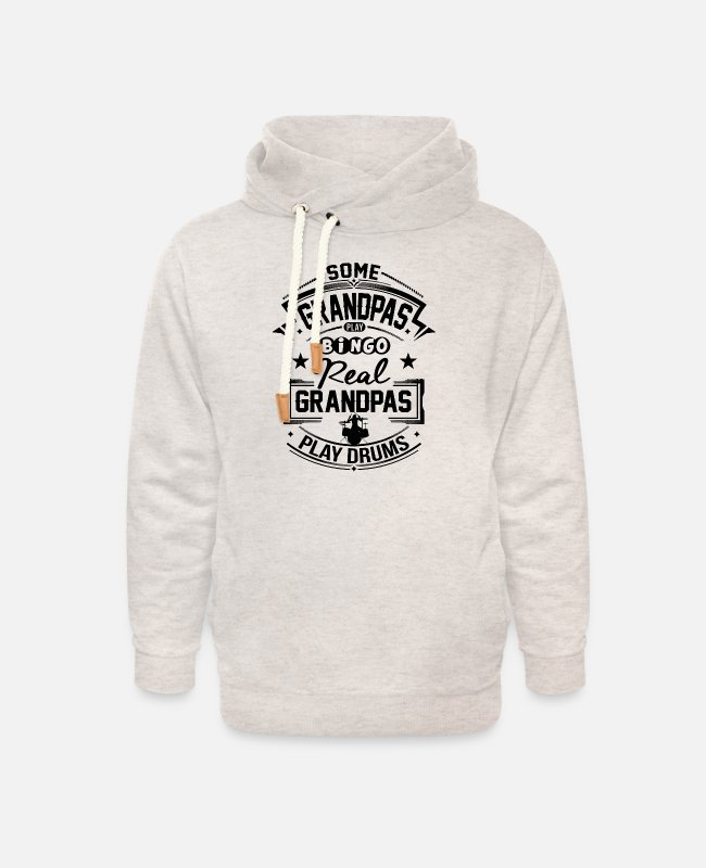 Grandpa Hoodies & Sweatshirts - Real Grandpas Play Drums - Unisex Shawl Collar Hoodie heather oatmeal