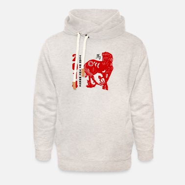 2014 2014 Year of The Horse Paper Cut - Unisex Shawl Collar Hoodie