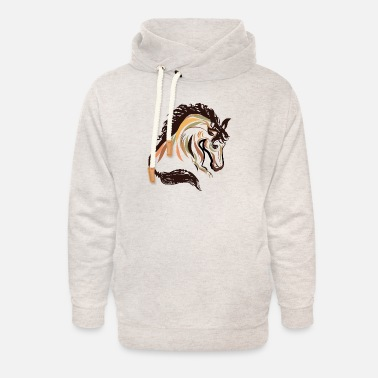 horse head painting art | horse head t-shirt - Unisex Shawl Collar Hoodie