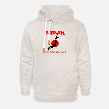 Japan don't mind the giant lizard - Unisex Shawl Collar Hoodie