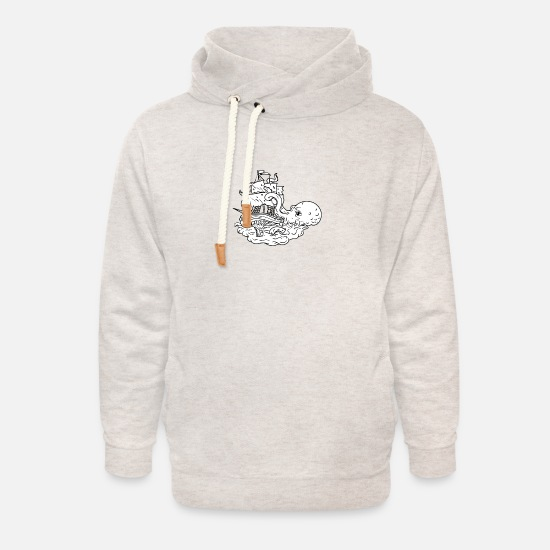 Octopus Hoodies & Sweatshirts - Kraken Attacking Sailing Ship Doodle Art - Unisex Shawl Collar Hoodie heather oatmeal
