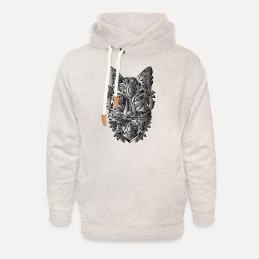 Ornament Duochromatic Ornamental Fox Line Art - Unisex Shawl Collar Hoodie