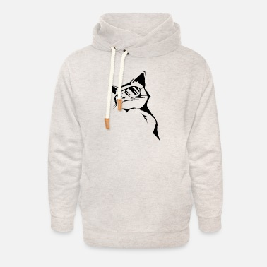 Cat Wearing Glasses - Unisex Shawl Collar Hoodie