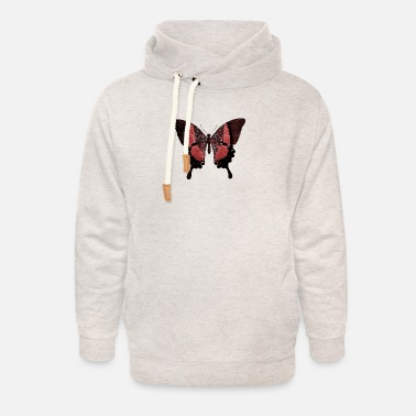 Drawing Red Butterfly - Unisex Shawl Collar Hoodie