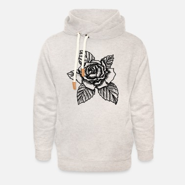 Blume Rose - drawing rose - Unisex Shawl Collar Hoodie