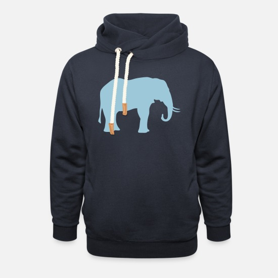 Tribe Hoodies & Sweatshirts - elephant trunk figure 706 - Unisex Shawl Collar Hoodie navy