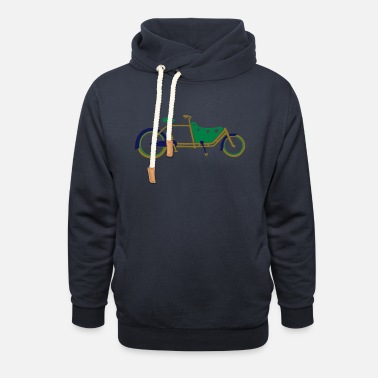 Bicycle Family 3 colour Cargo Bike Long John Style - Unisex Shawl Collar Hoodie