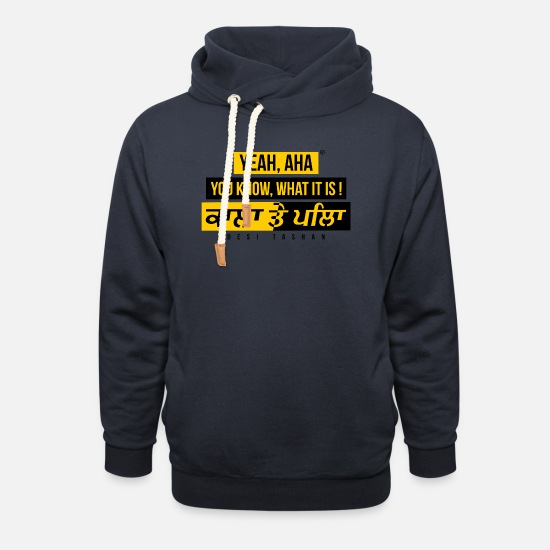 Black Hoodies & Sweatshirts - Black and Yellow - Unisex Shawl Collar Hoodie navy