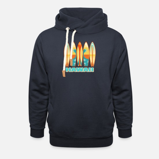 Surfboard Hoodies & Sweatshirts - Hawaii Surfboards - Unisex Shawl Collar Hoodie navy
