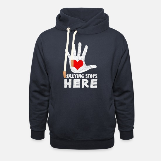 No Hoodies & Sweatshirts - ANTI BULLY - Bullying Stops Here - Unisex Shawl Collar Hoodie navy