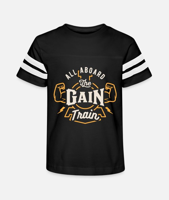 Gains T-Shirts - All Aboard The Gain Train - Kids' Vintage Sport T-Shirt black/white