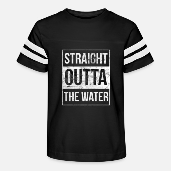 Outta T-Shirts - Christian Baptism Funny Straight Outta Water - Kids' Vintage Sport T-Shirt black/white