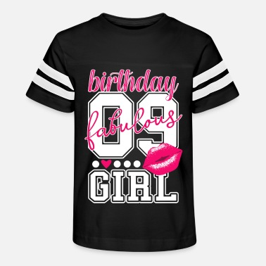 Birthday 09 9 Years Old Girls Pink Kiss - Kids' Vintage Sport T-Shirt