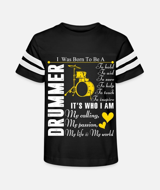 December T-Shirts - I Was Born To Be A Drummer T Shirt - Kids' Vintage Sport T-Shirt black/white