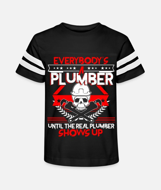 T-Shirts - The Real Plumber Shows Up T Shirt - Kids' Vintage Sport T-Shirt black/white