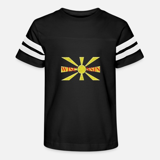 Wisconsin T-Shirts - Wisconsin Macedonian Flag - Kids' Vintage Sport T-Shirt black/white