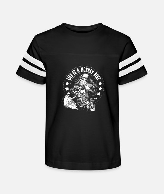 Motorcycle T-Shirts - Monkey Bike - Kids' Vintage Sport T-Shirt black/white