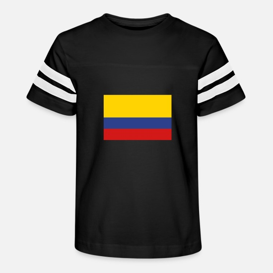 Colombia T-Shirts - National Flag Of Colombia - Kids' Vintage Sport T-Shirt black/white