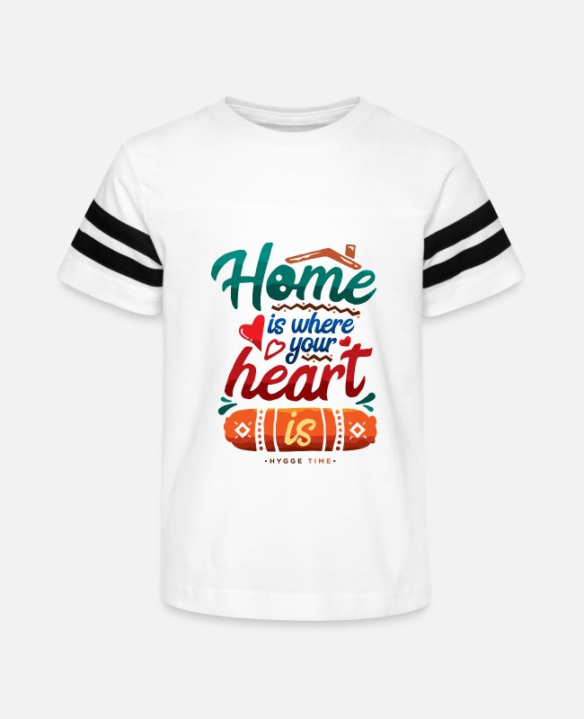 Graphic Art T-Shirts - Home is Where Your Heart Is - Kids' Vintage Sport T-Shirt white/black