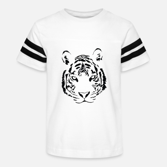 Print T-Shirts - White Tiger Black Print - Kids' Vintage Sport T-Shirt white/black