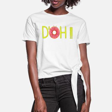 Simpsons D'OH and Donut - Women's Knotted T-Shirt